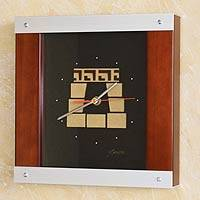 Wood and aluminum wall clock, 'Inca Window' - Wood and aluminum wall clock