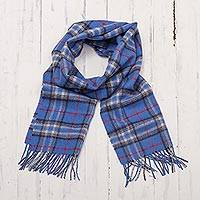 Men's 100% alpaca scarf, 'Cool Blue' - Men's Plaid Baby Alpaca Scarf from Peru