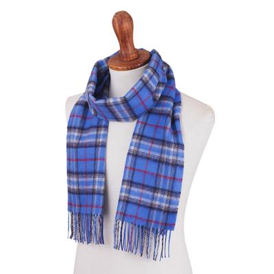 Men's 100% alpaca scarf, 'Cool Blue' - Men's Plaid Baby Alpaca Scarf from Peru