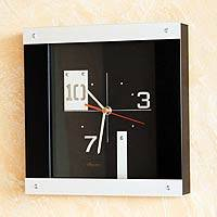 Wood and aluminum wall clock, 'Modern Peru' - Wood and aluminum wall clock