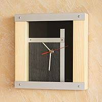 Wood and aluminum wall clock, 'To the Future' - Wood and aluminum wall clock