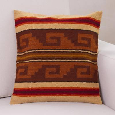 Wool cushion cover, 'Warmth of the Inca' - Inca Wool Patterned Cushion Cover