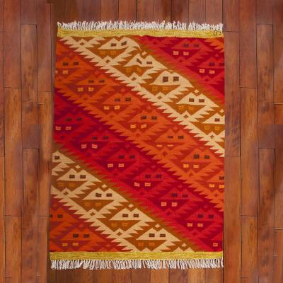 Wool rug, 'Fire Scorpion' (4x5.5) - Wool rug (4x5.5)