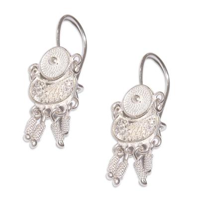 Sterling silver filigree earrings, 'Little Beauty' - Sterling Silver Filigree Chandelier Earrings