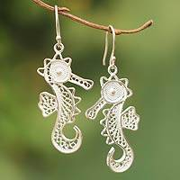 Sterling silver filigree earrings, 'Little Seahorse'