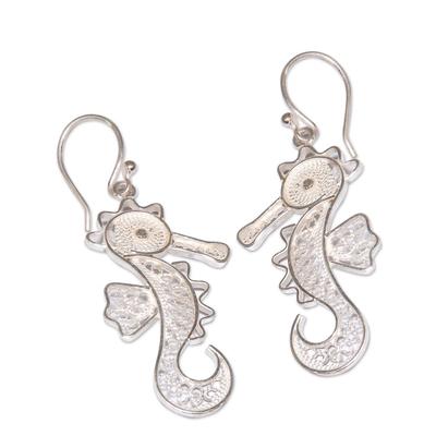 Sterling silver filigree earrings, 'Little Seahorse' - Sterling Silver Filigree Dangle Sea Life Earrings