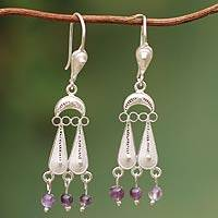 Amethyst chandelier earrings, 'Filigree Rain' - Handcrafted Sterling Silver Filigree Amethyst Earrings