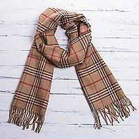 Men's 100% alpaca scarf, 'Toasty Brown' - Fair Trade Men's Baby Alpaca Scarf from Peru