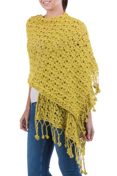 100% alpaca shawl, 'Timeless' - Floral Alpaca Wool Crochet Shawl from Peru