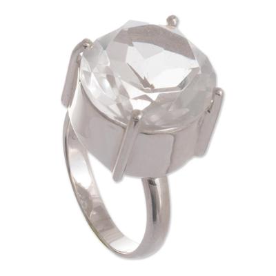 Quartz solitaire ring, 'Quechua Mystique' - Quartz solitaire ring
