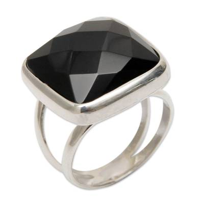Peruvian Sterling Silver Single Stone Obsidian Ring