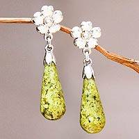 Serpentine flower earrings, 'Enlightened Dew' - Floral Sterling Silver Dangle Serpentine Earrings