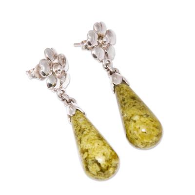 Serpentine flower earrings, 'Enlightened Dew' - Floral Sterling Silver Dangle Serpentine Earrings