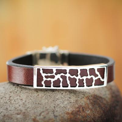 Men's leather bracelet, 'Wilderness' - Men's leather bracelet