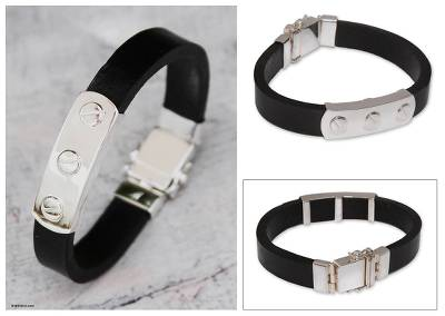 Men's leather bracelet, 'Protector' - Men's leather bracelet