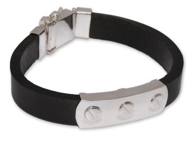 Men's leather bracelet, 'Protector' - Men's leather bracelet
