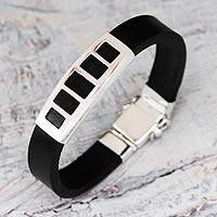 Men's leather bracelet, 'Futurist' - Smooth Black and Silver Men's Bracelet