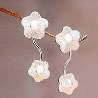 Sterling silver flower earrings, 'Buttercups' - Silver Flower Earrings Sterling 925 Post Drop Style