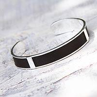 Leather cuff bracelet, 'Leather Minimalist' - Artisan Crafted Modern Sterling Silver Leather Cuff Bracelet