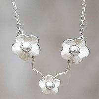 Sterling silver flower necklace, 'Buttercups' - Sterling silver flower necklace