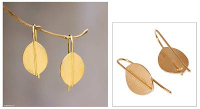 Gold plated drop earrings, 'Lucky Leaves' - Gold plated drop earrings