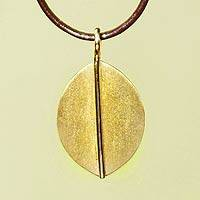 Gold plated pendant necklace, 'Lucky Leaf'