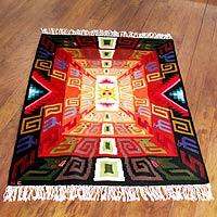 Wool rug, 'Sun God Festival' (4x6)