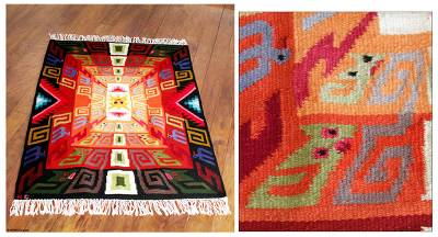 Wool rug, 'Sun God Festival' (4x6) - Geometric Wool Area Rug (4x6)