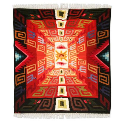 Wool rug, 'Sun God Festival' (4x6) - Geometric Wool Area Rug (4x6)