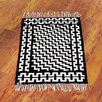 Wool rug, 'Stair Steps' (2x3) - Black and White Handwoven Signed Area Rug (2x3)
