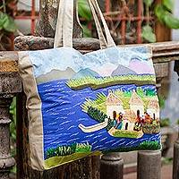 Cotton applique tote bag, 'Lake Titicaca' - Folk Art Embroidered Cotton Shoulder Bag