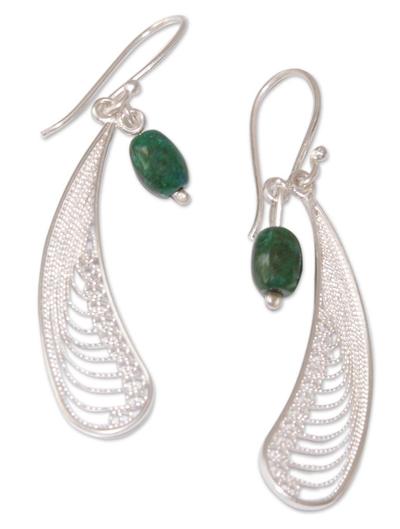 Chrysocolla dangle earrings, 'Filigree Enchantment' - Women's Modern Sterling Silver Dangle Chrysocolla Earrings