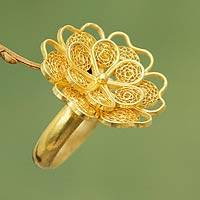 Gold plated filigree flower ring, 'Yellow Rose' - Collectible Floral Gold Plated Cocktail Ring