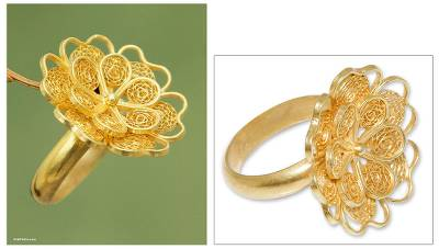 Gold plated filigree flower ring, Yellow Rose