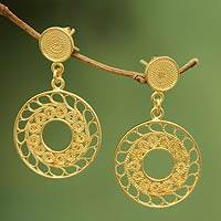 Gold plated filigree dangle earrings, 'Circles of Lace' - 21k Gold Plated Filigree Peruvian Dangle Earrings