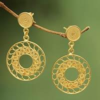 Gold plated filigree dangle earrings, 'Circles of Lace' - 21k Gold Plated Filigree Peruvian Dangle Earrings