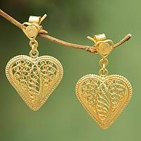 Gold plated filigree dangle earrings, 'Lace Sweetheart' - Artisan Crafted Heart Shaped Gold Earrings