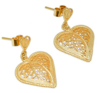 Gold plated filigree dangle earrings, 'Lace Sweetheart' - Artisan Crafted Heart Shaped Gold Filigree Earrings