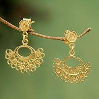 Gold plated filigree dangle earrings, 'Luminous Fans'