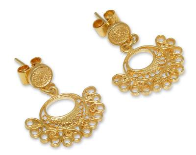 Gold plated filigree dangle earrings, 'Luminous Fans' - Gold plated filigree dangle earrings