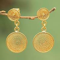 Gold plated filigree dangle earrings, 'Two Starlit Suns' - Artisan Crafted Gold Plated Filigree Earrings from Peru