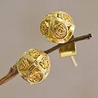 Gold plated filigree stud earrings, 'Morning Light'