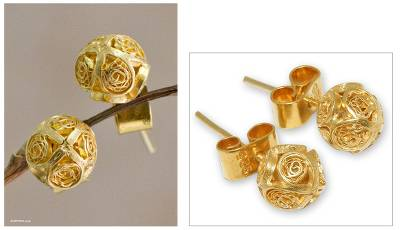 Gold plated filigree stud earrings, 'Morning Light' - Handcrafted Gold Plated Filigree Stud Earrings