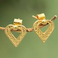Gold plated filigree heart earrings, 'A Place in My Heart'