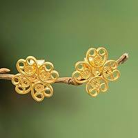 Gold plated filigree flower earrings, 'Andean Blossom'