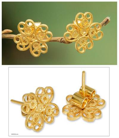 Gold plated filigree flower earrings, 'Andean Blossom' - Handmade Floral Gold Plated Filigree Flower Earrings