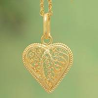 Gold plated filigree pendant necklace, 'Lace Sweetheart'