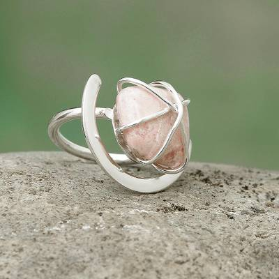 Rhodonite single stone ring