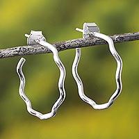 Sterling silver half hoop earrings, 'Light Waves' - Modern Sterling Silver Half Hoop Earrings