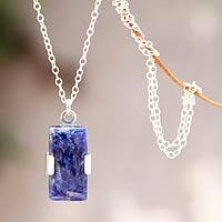 Sodalite pendant necklace, 'Hug' - Artisan Crafted Sterling and Sodalite Pendant Necklace